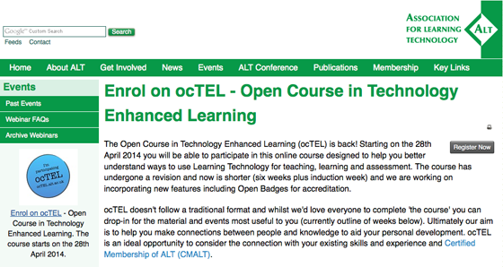 Open Course in Technology Enhanced Learning (ocTEL)